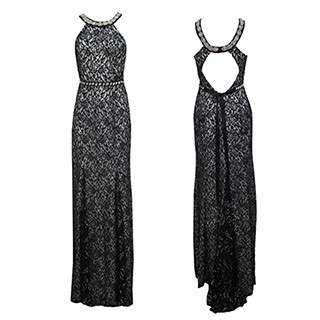 My Michelle Black Lace Halter Neck Dress