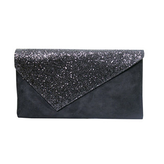 Jaclin Black Envelope Bag with Sequin Detail