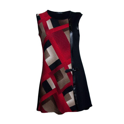 Twist Red Print Sleeveless Dress