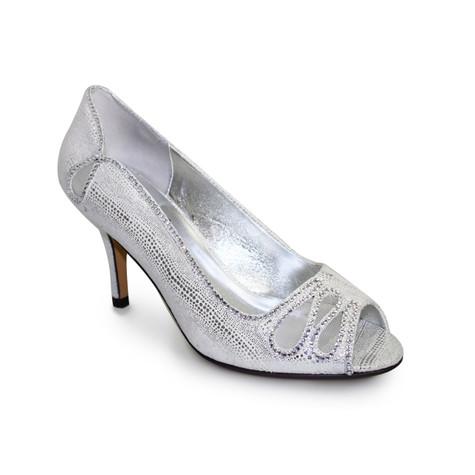 Lunar Silver Peep Toe Court Heel