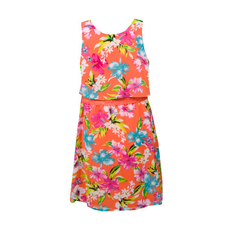 My Michelle Kids Sleeveless Orange Flower Print Dress