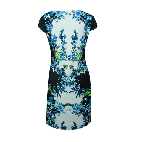 Sangria Black & Turquoise Print Cap Shoulder Dress