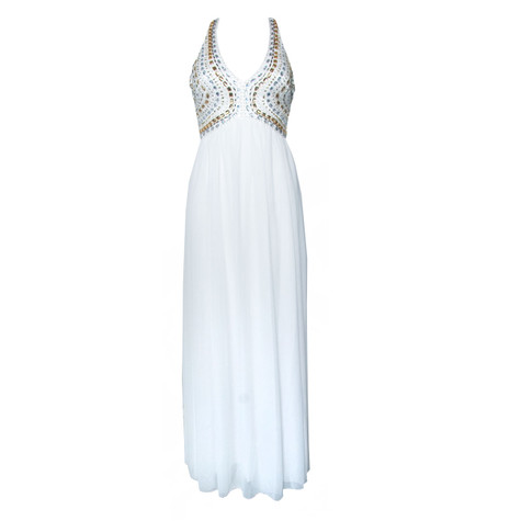 My Michelle Ivory Long Dress with Stone Detail Accessories