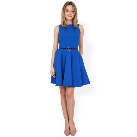 closet royal blue belt dress