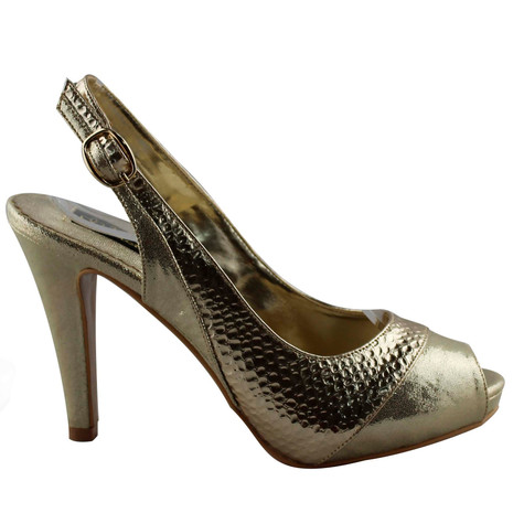 Jaclin Gold Peep Toe Sling Back Court Shoe