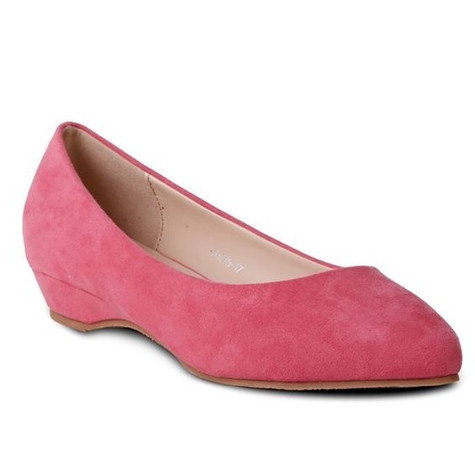 pink low wedge slip on shoe