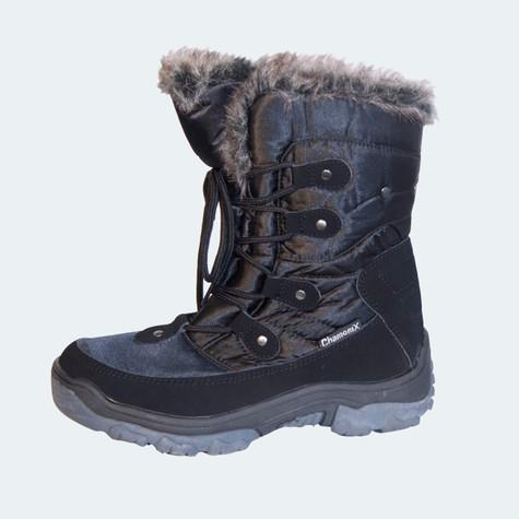 Chamonix Ladies Black Snow/Winter Boot with Fun Fur