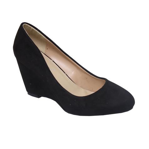 ch creation black mid heel wedge shoe