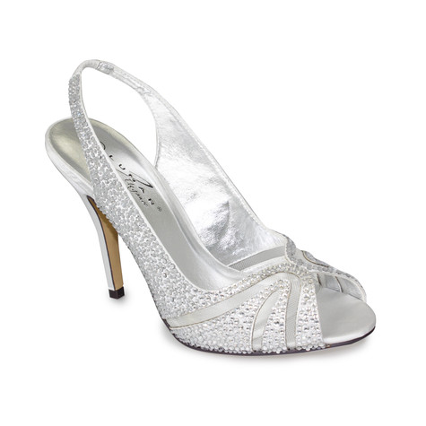 Lunar Silver Peep Toe Sling Back Shoe