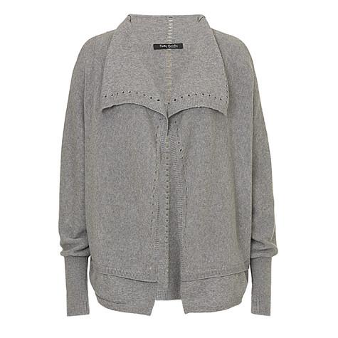 betty barclay grey open knit jacket pamela scott. Black Bedroom Furniture Sets. Home Design Ideas