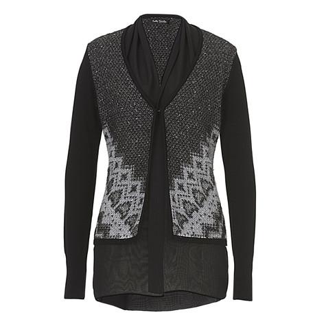 betty barclay black harmony knit jacket pamela scott. Black Bedroom Furniture Sets. Home Design Ideas