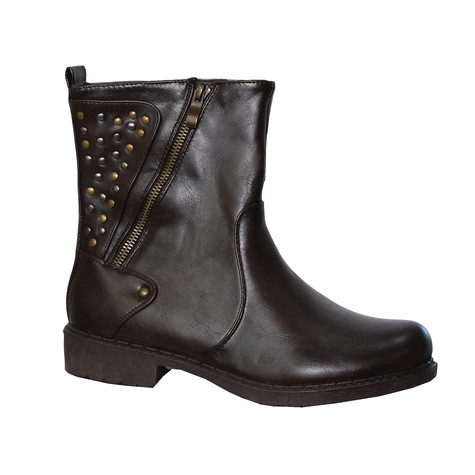 Enzo Nucci Brown Warm Lined Stud Ankle Boot