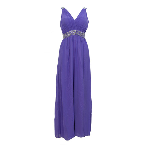 Max And Lola Lavender Long Pearl Detail Dress