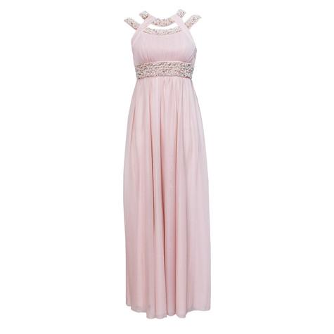 My Michelle Cut Out Peach Pearl Detail Long Dress
