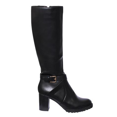 Raxmax Black Block Heel Long Boot