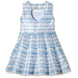 Yumi Girls Organza Stripe Heart Cut Out Dress