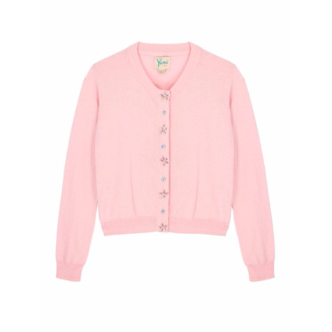 Yumi Girls Girls Embellished Button Cardigan In Fuchsia Pink