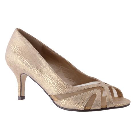 Barino Gold Kitten Heel Peep Toe Court Shoe