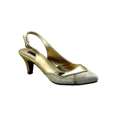 Jaclin Gold Kitten Heel Sling Back Court Shoe