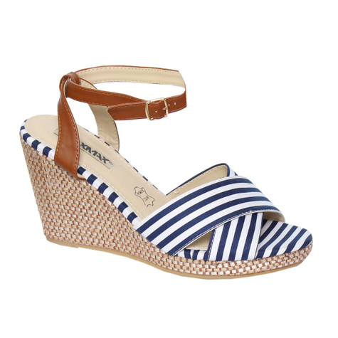 Raxmax Blue Wedge Sandal Stripe Detail