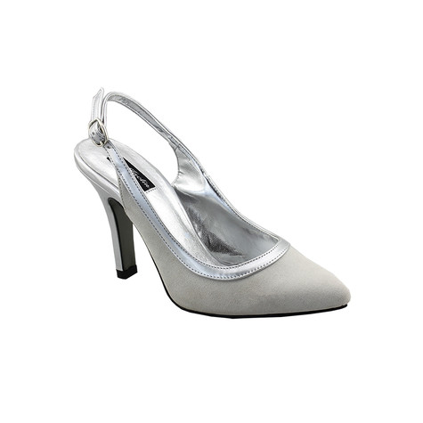 Jaclin Silver Sling Back Court Shoe