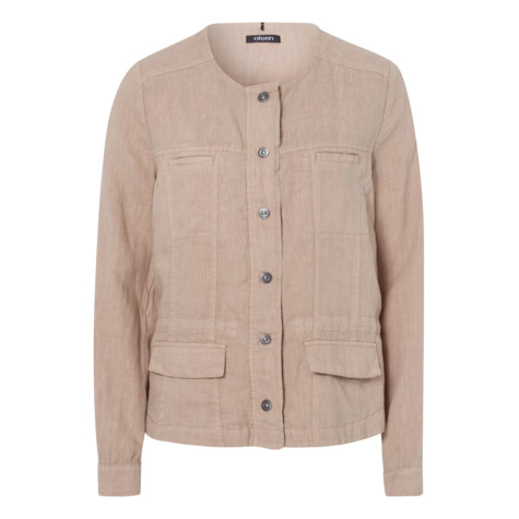 Olsen LINEN JACKET WITH BUTTON PLACKET - DARK BEACH