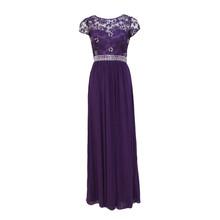 Max And Lola Deep Purple Long Mesh Detail Dress