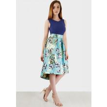 Closet Blue Floral 2 Tone Dress - ONLINE EXCLUSIVE -