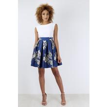 Closet Contrast Skirt Dress Ivory / Navy Metallic - ONLINE EXCLUSIVE -