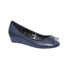 Enzo Nucci Navy Low Wedge Court Shoe