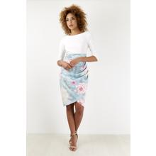Closet Cream Abstract Flower Midi Dress
