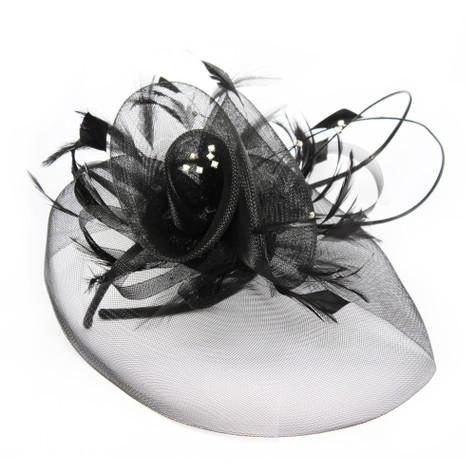 Maddox Black Mesh & Feather Featured Hat