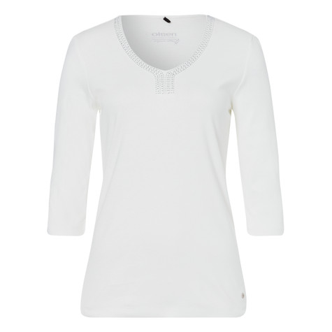 Olsen COTTON TOP EMBELLISHED - OFF WHITE