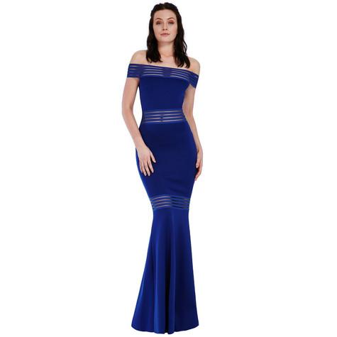 City Goddess Royal Blue Layered Fish Tail Dress