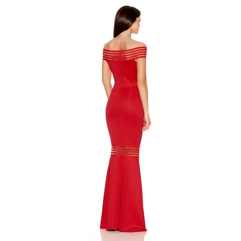 City Goddess Red Fish Tail Layered Dress