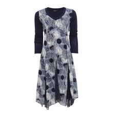 SophieB Navy Circle V-Neck Long Sleeve Dress