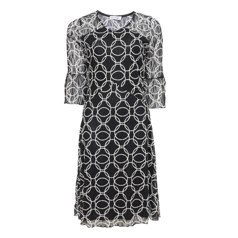Zapara Black & Beige Circle Pattern Mesh Dress
