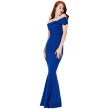 City Goddess Royal Blue Bardot Dress