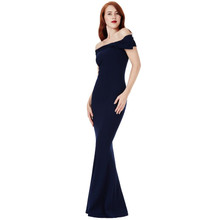 City Goddess Navy Bardot Dress