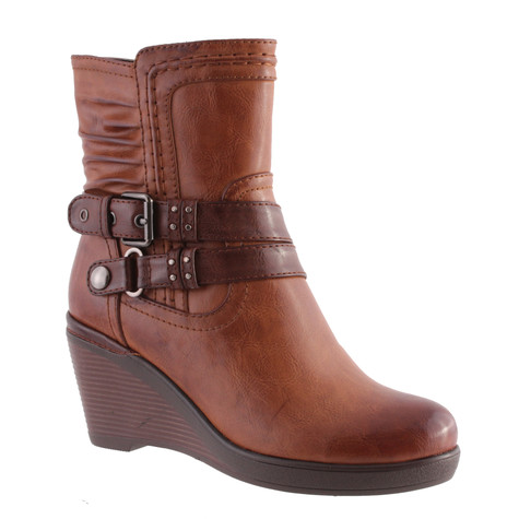 Susst Bordeaux Wedge Style Ankle Boots