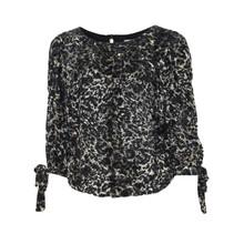 Zapara Black & Beige Velvet Top