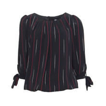 Zapara Black Stripe Pattern Blouse
