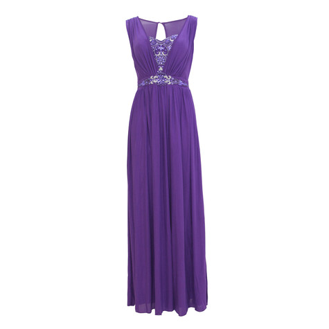 Max And Lola Purple V-Neck Bead Detail Dress