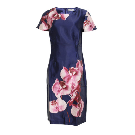 Zapara Navy Dress with White & Pink Floral Pattern