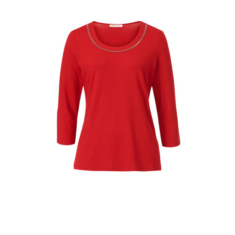Betty Barclay Red Round Neck Top With Accessory Detail