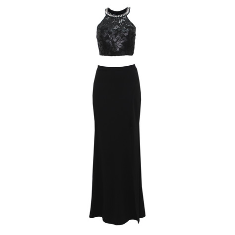 My Michelle Black Lace 2 Piece Long Dress