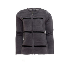Twist Grey Ribbed Button Detail Knit
