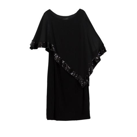 Scarlett Black Mesh Cape Sequence Dress