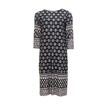 Twist Black Cream Print Dress