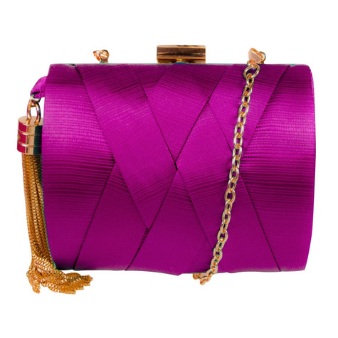 Dice Fushia Hard Case Clutch Bag